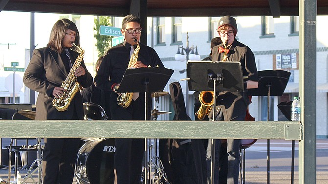 Local musicians, like members of the Sunnyside High School Jazz Band, will fill the air with music each Tuesday night.