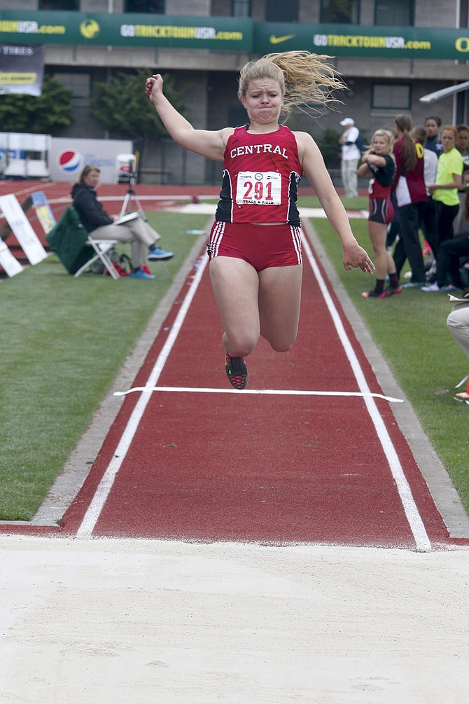 Central senior Reba Hoffman placed fifth in the girls triple jump at state on Saturday.