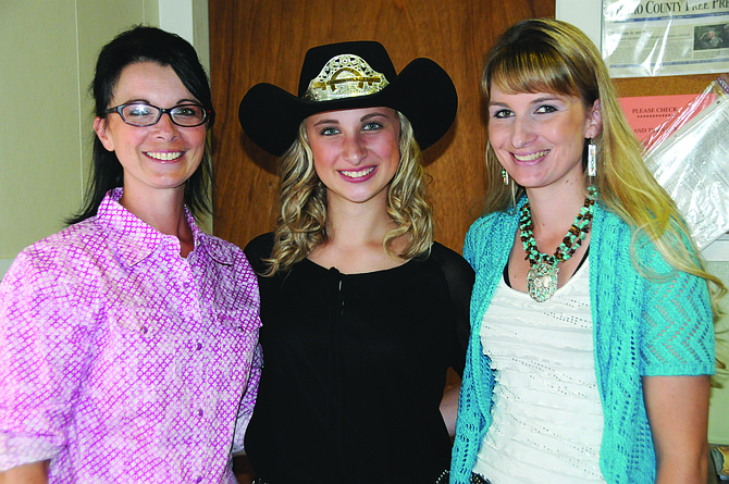 2016 White Bird Rodeo Queen Bella Klapprich of Grangeville (middle) is pictured here at the White Bird Days and Rodeo Royalty Luncheon held Saturday, June 18. Klapprich's mom, Melissa Miller Klapprich (left) was White Bird Rodeo Queen in 1996 and her aunt, Kami Miller Fogleman (right) was White Bird Rodeo Queen in 1999.