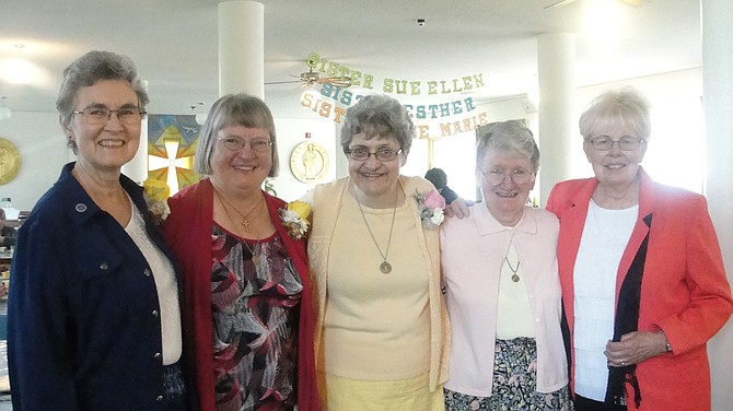 Contributed photo Sisters Esther Velasquez, Rose Marie Nutsch, Sue Ellen Drexler, Mary Forman (prioress), and Clarissa Goeckner (who gave the homily at the celebration held June 11 at the Monastery of St. Gertrude in Cottonwood).