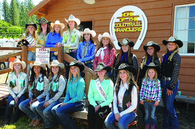 Clearwater Valley Roundup Association (CVRA) hosted a royalty luncheon following the CVRAparade, prior to the rodeo, Sunday, June 19. Queen Jade Paul and Princess Shelbie Miller welcomed visiting royalty members. The group is pictured here outside the CVRA/Gold TrailWranglers concession and meeting room at the rodeo grounds in Kamiah.