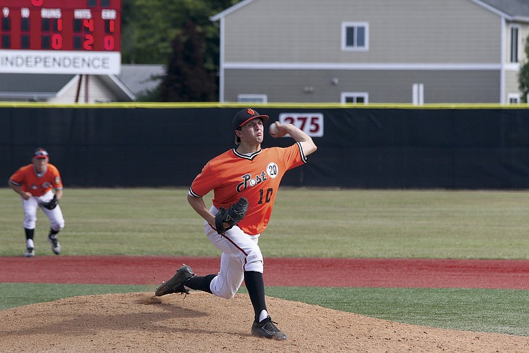 Demarini Dirtbags pitcher Tucker Weaver delivers a throw against the Corvallis Marketmen earlier this season.