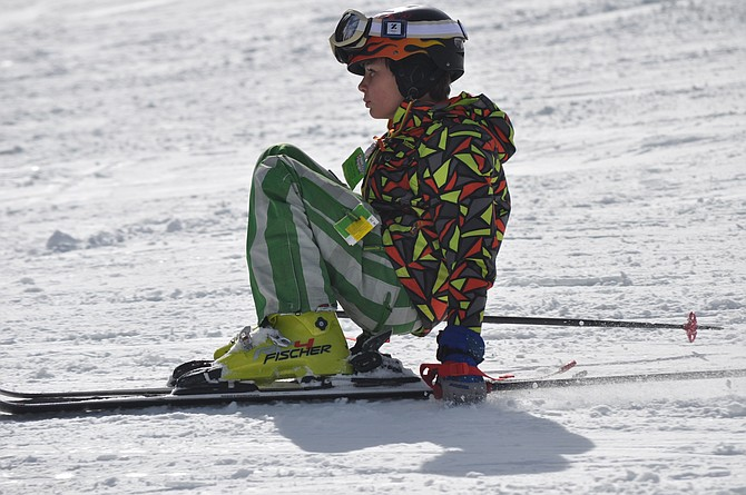 A student makes a cautious attempt at skiing at Snowhaven this February during Snowhaven School Day.