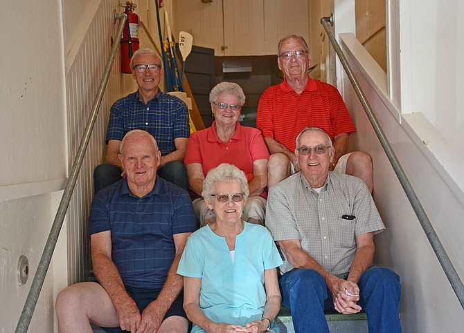 Contributed photo At their July 2016 reunion in Riggins, members of the Riggins High School Class of 1956 are pictured on the stairs in their High School building.  In the front row, left to right are:  Gene Swift, Betty Lou (Voss) Freeburg, Archie Willis. Back row, left to right: Fred Freeburg, Patty (Medley) Barham Solberg, and Pete Wilson.