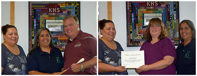 """Contributed photos  At left, (L-R) Nez Perce Tribe Technical Assistance Coach Alicia Wheeler, Nez Perce Tribe Education Manager Joyce McFarland, and Kamiah principal Jimmy Engledow who was recognized for his leadership in supporting culturally responsive professional development through the STEP project. At right, (L-R) Nez Perce Tribe Technical Assistance Coach Alicia Wheeler, Kamiah middle school teacher Loretta Riener, and Nez Perce Tribe Education Manager Joyce McFarland. Riener was awarded the Dr. Arthur Taylor Jr. """"Culturally-responsive Teacher of the Year"""" award."""