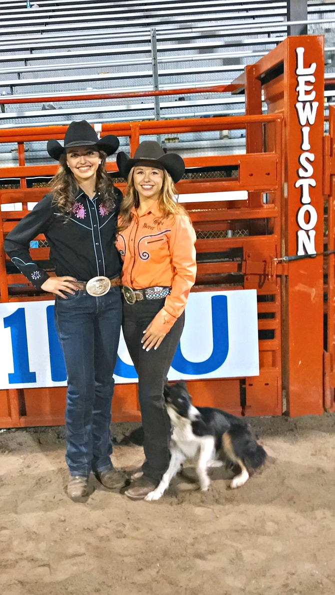 Contributed photo Nicole Poxleitner (left), daughter of Glenn and Loretta Poxleitner of Keuterville, was crowned queen of the 2017 Lewiston Roundup Royalty on Saturday, Sept. 10. She is a senior at Prairie High School in Cottonwood. Maggie Chmelik (right), daughter of Joe and the late Julie Chmelik of Grangeville, was crowned princess. She is a senior at Grangeville High School. Each served as Border Days Queen: Poxleitner in 2015 and Chmelik this past year.