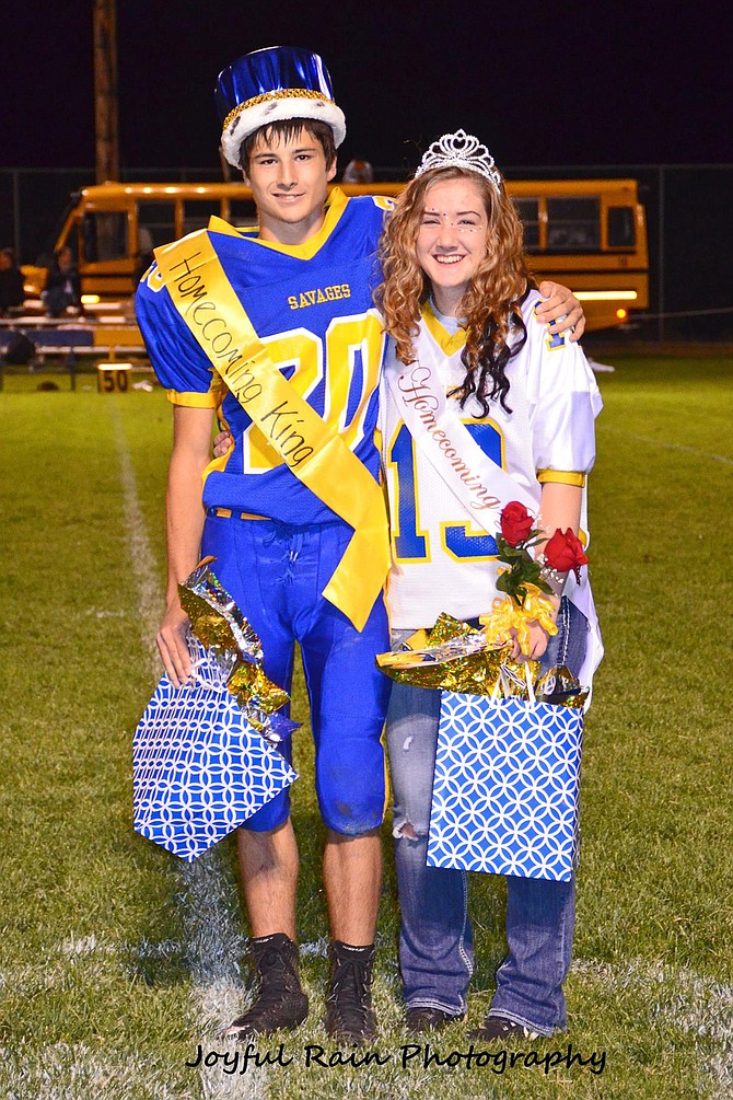 Salmon River Junior Senior High School in Riggins held its homecoming Sept. 23. Johnny Shepherd was crowned homecoming king and Marissa Gubitosi was crowned queen.