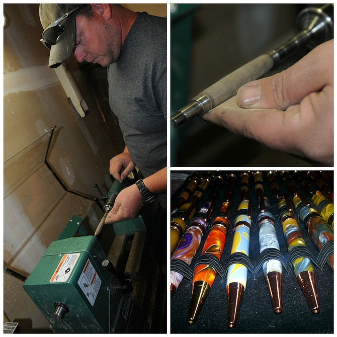 (Top and right) Mike Tackett uses the lathe to turn a tube of wood into a pen barrel. (Bottom) Some of the finished products in acrylic are pictured here.
