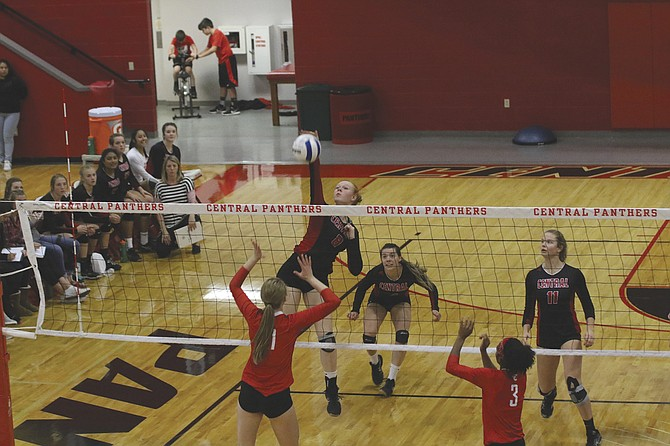 Central's Annika Riddell goes up for a kill against North Eugene on Oct. 25 in the state play-in round.