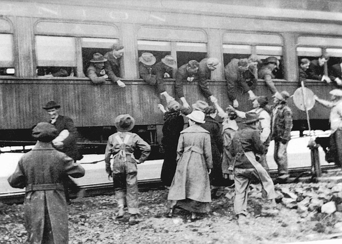 Bidding the boys goodbye as they leave for WWI, 1918.