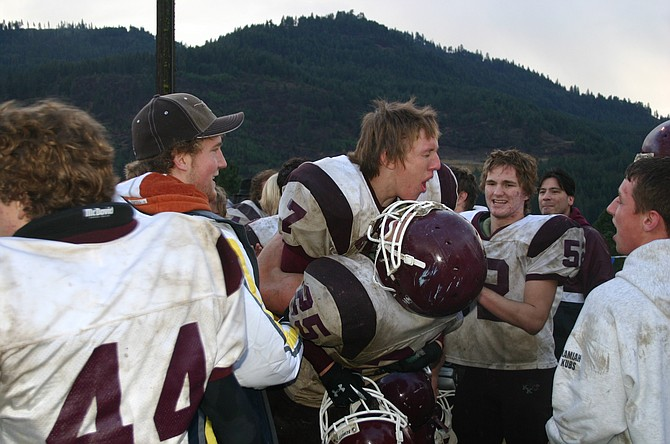 Kamiah Kubs celebrate their win over Orofino making them state contenders in this November 2006 photo. They lost the state title in 2006 to Firth.