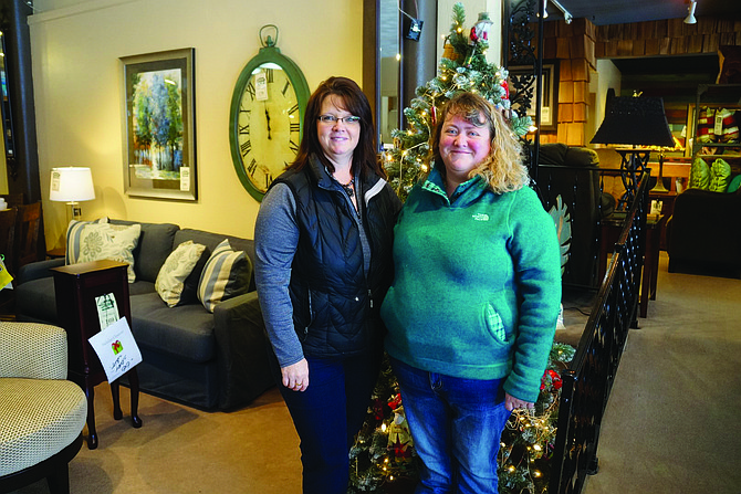 """Free Press / Lisa Adkison Rebecca Warden of Grangeville is the grand-prize winner for the """"4 Weeks of Christmas"""" holiday showcase. She is pictured here (right) with Lindsley's Home Furnishings employee Darlene Key. Warden won $1,500 in furniture, flooring or television from Lindsley's."""