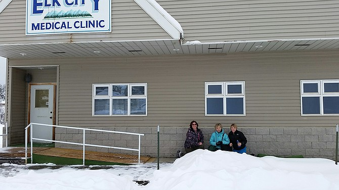 Pictured at top are St. Mary's Elk City nurses (L-R)  Peg Gehring, Michelle Hain-Flores, and Shelli Lothspeich at the ElkCity Clinic in town. Contributed photo