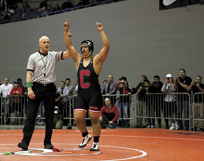 Central senior David Negrete won a state title at 220 pounds.