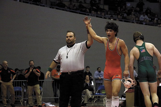 Dallas senior Tanner Earhart won a state title at 160 pounds.