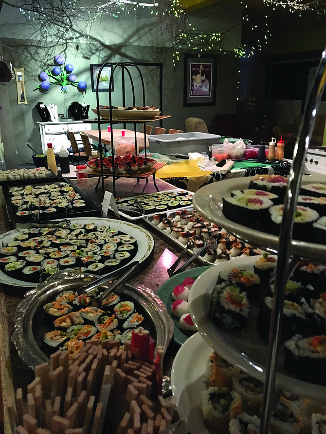 Sushi Night at The Gallery was held Saturday, Feb. 25. The event is an annual event held as a membership drive for Grangeville Arts, Inc. The party drew a large crowd who enjopyed sushi, orange chicken and edamame.  Free Press / Lisa Adkison