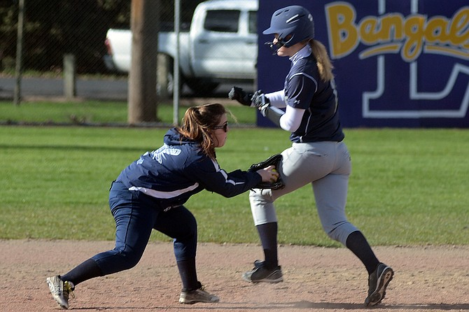 Grangeville's senior at second base, Paige Cook, made the play tagging out Genesee's Tessa Renton on a ground ball April 4.