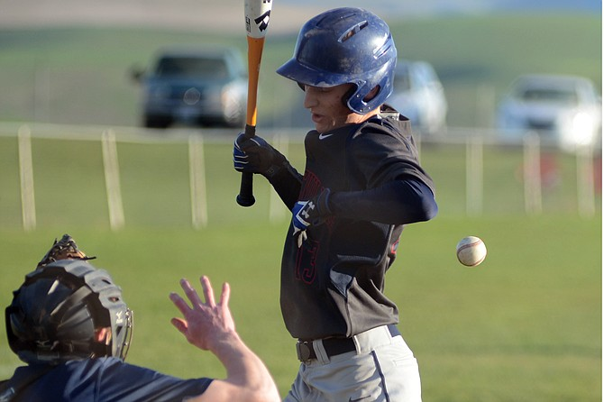 Grangeville junior Tyler Stephens played brilliantly in a 10-3 win over Genesee Monday night, April 3, but couldn't avoid being pelted in the ribcage late in the game.