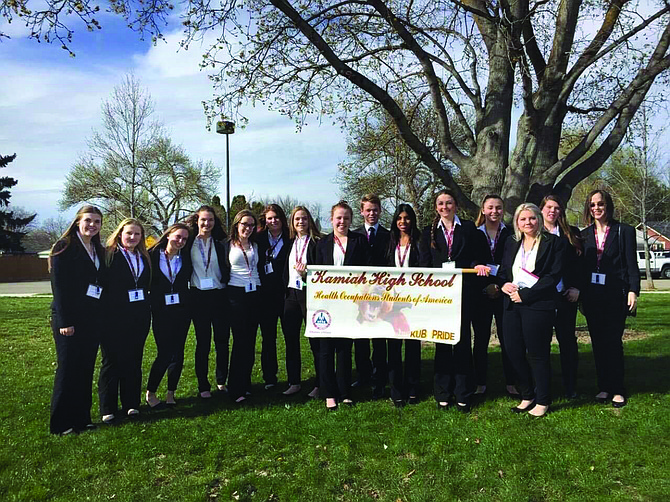 Contributed photo Kamiah High School HOSA students are currently fund-raising to earn money for the national conference trip to Orlando, Fla.