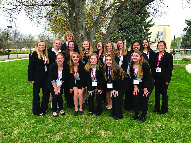 Grangeville High School HOSA: Contributed photo / Tracy Baune: Grangeville High School students recently competed at the state of Idaho HOSA (Health Occupations Student Association) conference in Boise. Pictured are (back row, L-R) Hailey Cass, Rachel Chmelik, Illlyana Barela, Jordan Reuter, Jill Stinnett, Kaitlyn Spets, Maggie Chmelik, Colby Canaday, Cecilia Rojas, Grace VanGunten, and Brenda Gomez; (front, L-R) Chloe Dame, Jolie Tosten, Abigail Pullen, Ashley Gautney and Sarah Fischer. State results are as follows: Sarah Fischer - 1st place extemporaneous health poster;  Brenda Gomez - 4th place - nursing assistant; Ashley Gautney - 5th place - veterinary science; Chloe Dame - 6th place – epidemiology; Jill Stinnett - 6th place - human growth and development; Chloe Dame and Colby Canaday - 6th place - forensic medicine; Maggie Chmelik - 7th place - job seeking skills; Sarah Fischer - 7th place - medical spelling and Kaitlyn Spets and Jill Stinnett - 7th place health education. The students are mentored by Mountain View School District 244 nurse Tracy Baune.