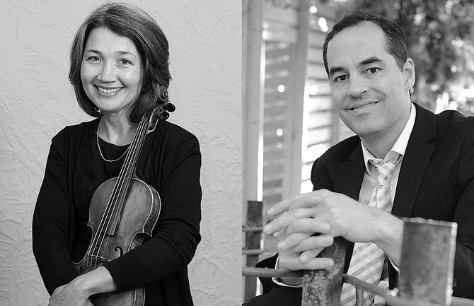 """Contributed photo Performers Giselle Hillyer (violin) and Roger McVey (piano) present """"A Spring Fiesta"""" on Sunday, May 7, at 2 p.m. in the Monastery of St. Gertrude chapel."""