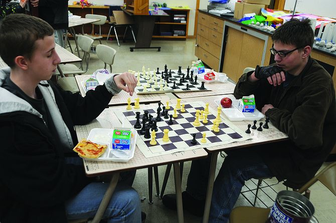 When eighth grader Alli Kohrman told her mom, Breezi, that the Grangeville Elementary Middle School's chessboards were not all complete and were a little worn, Breezi put a call on Facebook that received donations from across the United States. May 5, she was able to donated11 nice, wooden chessboards and pieces to the GEMS chess club that meets during lunch in Mr. Peeple's classroom. Peeples stepped in after science teacher Mr. Mark Willig died in 2016. Students in sixth, seventh and eighth grade meet twice a week to play or watch during lunch. Peeples said if students don't know how to play they are invited to learn or can simply watch if they wish. Here, students play on some of the existing chessmats.