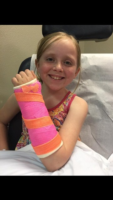 Free Press / Marie Smith Miss Maddie offering a brave smile despite her accident.