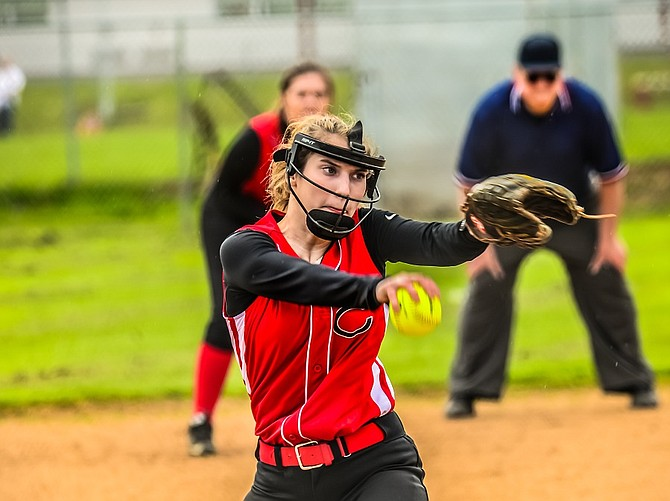 CHS junior Amanda Waldron winds up for a pitch during a 1A Trico League game here against Castle Rock on May 2. (Paul Carson photo)
