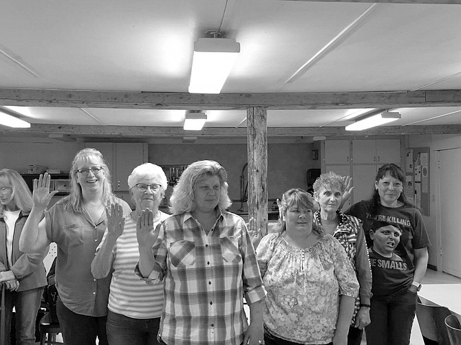 Contributed photo / Marlene George Officers for the 2017 - 2018 year of Elk City VFW Wilderness Post No. 8311 Auxiliary were installed during the May 11 meeting. An enthusiastic group of members welcomed the incoming officers and said they are looking forward to a great year. Pictured (L - R) Cheryl Sims, chaplain; Marlene George, junior vice; Sheri Yarbrough, president; Melissa (Missy) Osborn, senior vice; Nancy Smart, treasurer; and Kathy Knutzen, secretary.