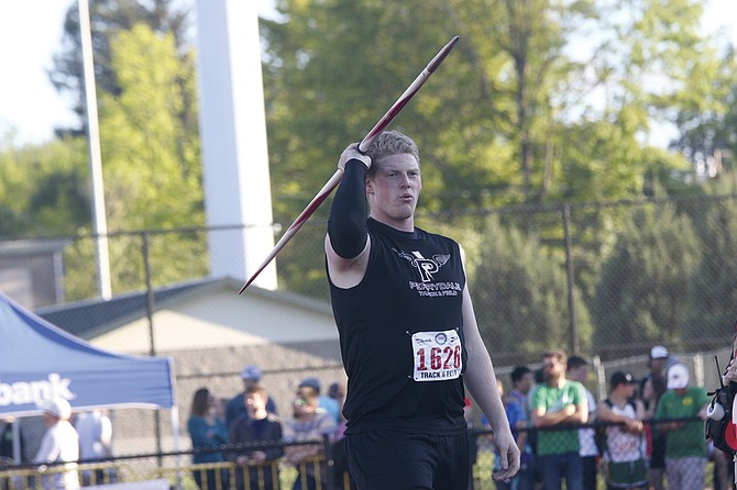 Jacob Pope prepares to throw the javelin during the OSAA Track and Field State Championships on Friday.