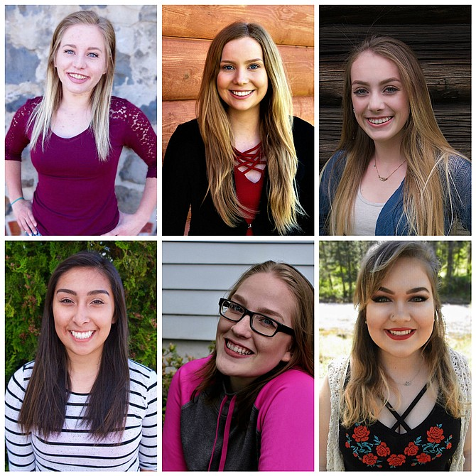 Six young women, all Grangeville High School juniors, will vie for Distinguished Young Woman of the Camas Prairie at the June 3 program. Pictured are (L-R) Kyra Arnzen, Anastasia Bearden, Hannah Forsyth, Brenda Gomez, Kaycee Hodges and Olivia Kazella.  Contributed photos