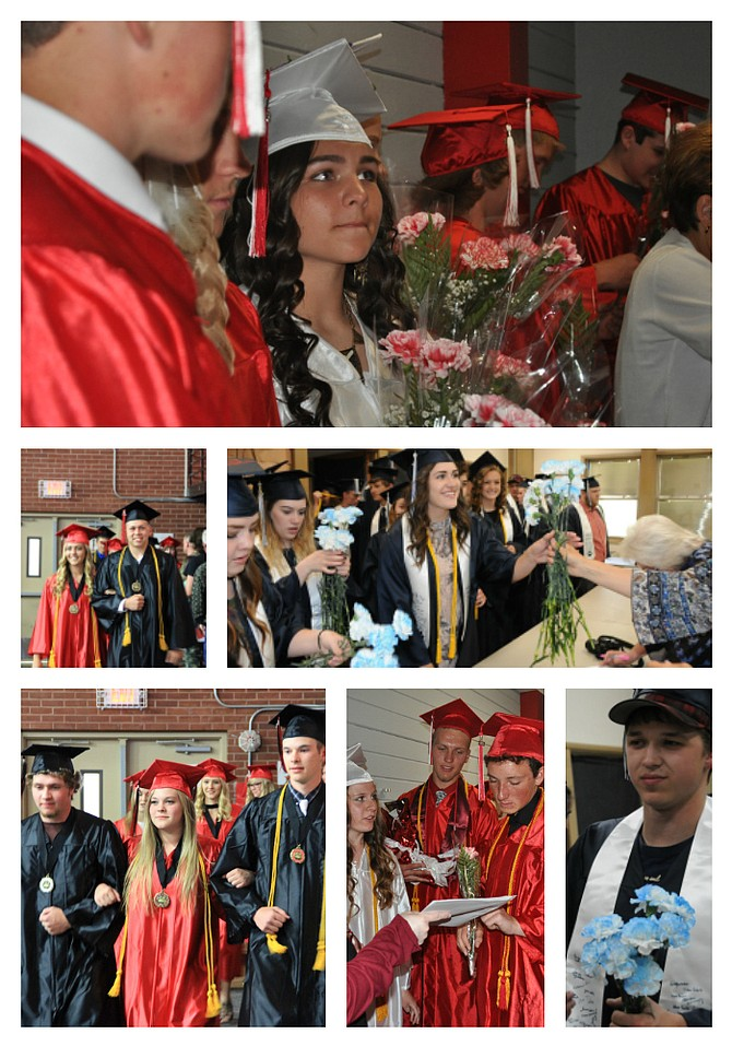 Several local high schools held graduation exercises Friday, May 26. These included Clearwater Valley High School in Kooskia (top, left), with Savannah Martin pictured; Prairie High School (top, right and above) with Kylie Tidwell and Ryan Gimp; and trio Terran Vanator, Darlene Gehring, and Noah Arnzen , respectively; Grangeville High School (right) with Paige Cooke, Faith Bruzas, Maicee Conner and Rachel Kelley; CVHS (right) with Savannah Martin, Kam Mangun and Cole Olsen; and (below) GHS's Tristan Roberts, still wearing his baseball hat under his graduation cap (Luke Stokes in the background).  Free Press Photos / David Rauzi,   Laurie Chapman and Lorie Palmer