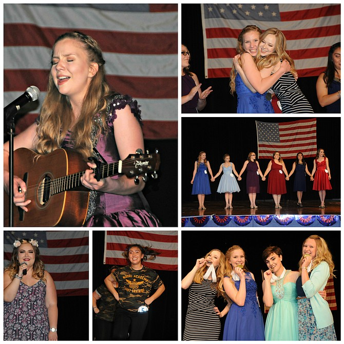 The Distinguished Young Woman of the Camas Prairie program was held at Grangeville High School June 3. Winner of the 2018 title is Anastasia Bearden. She is seen here (top, left) singing in the talent portion of the competition.