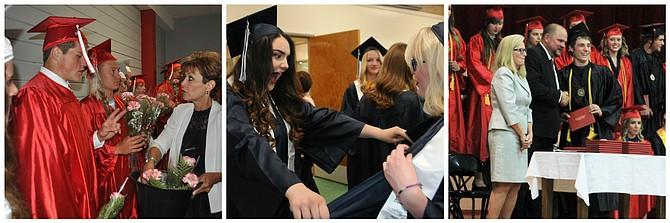 Graduations were held Friday, May 26, at (L-R) Clearwater Valley High School in Kooskia; Grangeville High School; and Prairie High School in Cottonwood.