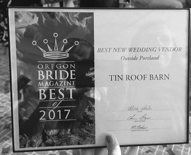 Tin Roof Barn wins 2017's Best New Wedding Venue (outside of Portland)