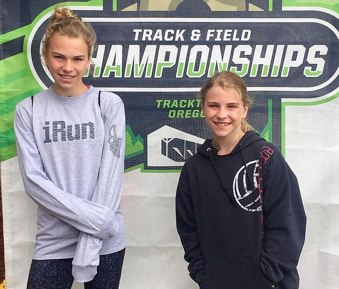 Hannah (left) and Jessica Polkinghorn both posted podium finishes last month at the Track Town Youth League Championship Meet in Eugene, Ore. (Submitted photo)