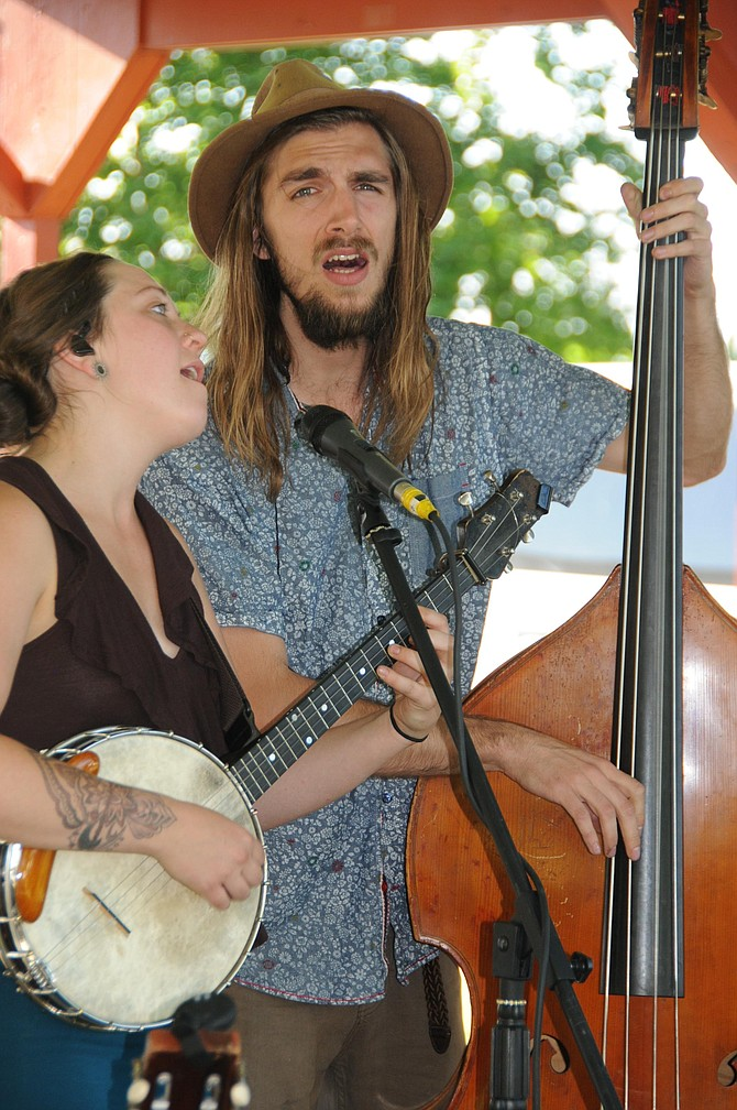The first Summer Concert Series performance for 2017 took place at Pioneer Park Thursday, July 13. Pictured here are two of the members from Gipsy Moon (L-R) Mackenzie Page and Matt Cantor.