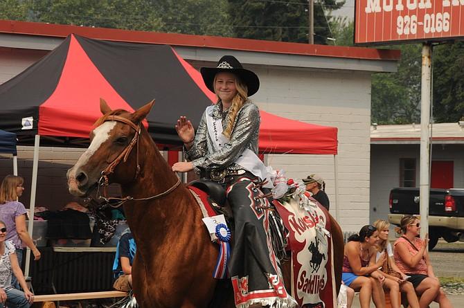 Macy Morrow rode in the Kooskia Days parade Saturday,Aug. 5, representing the Kooskia Saddliers as its princess.