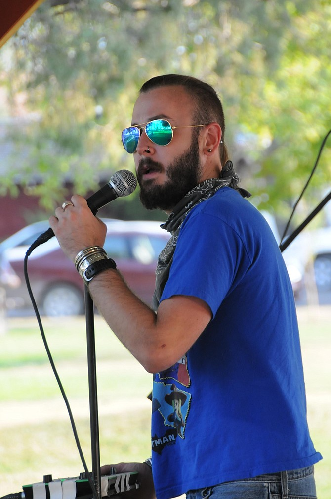 The Hitmen out of Lewiston were crowd pleasers at the final Thursday Summer Concert Series event Aug. 3. The band played a variety of tunes from the '50s on up to present hits. Pictured here is lead singer Dusty Katzenberger.
