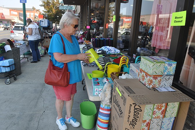 Shoppers spent time downtown Grangeville last week, Aug. 10, 11 and 12, for the annual CrazyDays sales. Here, Irwin Drug set up its sales on its MainStreet sidewalks for easy access.