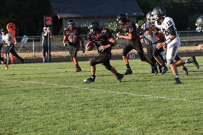 Perrydale senior Cooper Butler scored three touchdowns against Mapleton on Thursday.