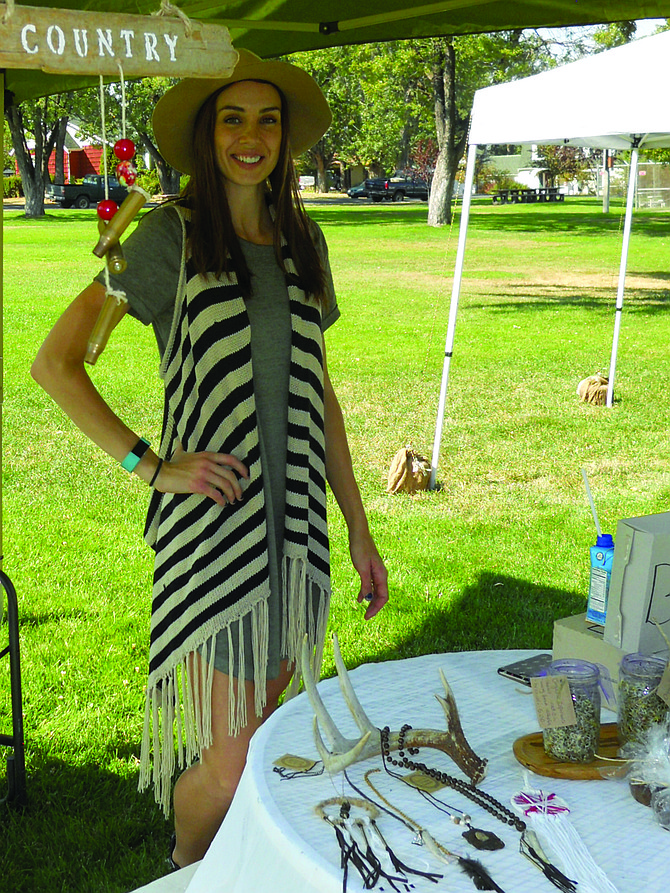 Vendor Angela Harris, Kooskia,  sells handcrafted jewelry, mobiles and blackberries.    Contributed photo / Michelle  Perdue