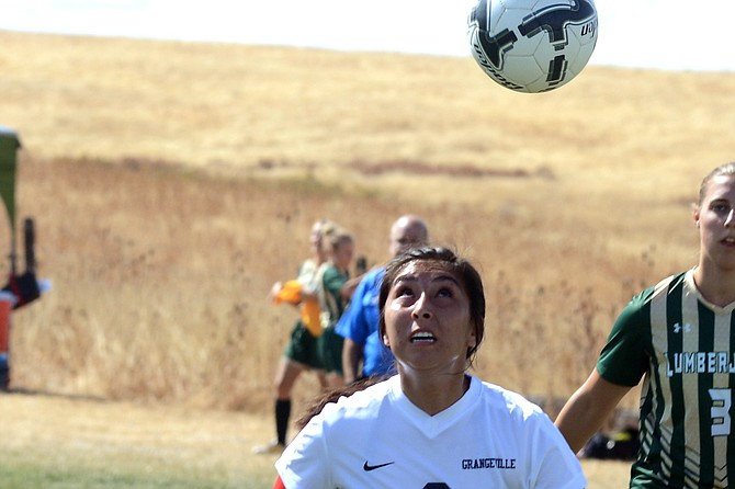 Grangeville's Brenda Gomez finished off this header with a left-footed strike good for the only goal during the Bulldogs' 7-1 loss to St. Maries on Saturday, Sept. 16.