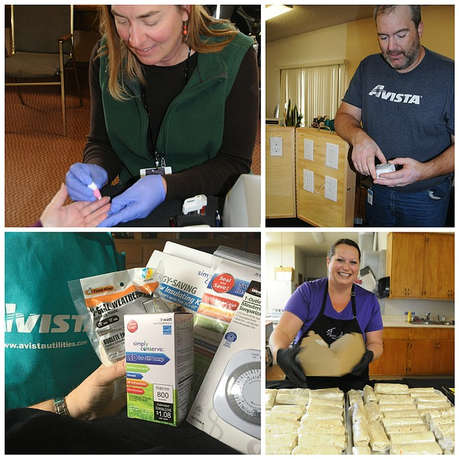 Did you get to the Avista energy conservation open house at the Grangeville Senior Center last Wednesday? It was great. Very informative, good demonstrations and information as well as excellent food. In addition, Avista had a great bag of giveaways which included a plug-in timer, socket insulators, weather stripping and light bulbs. (Top, left) community health worker Renee Stevens takes blood from a visitor for an ACL test; (top, right) Levi Westra with Avista explains the timer for lights and other devices; (above, left) Avista gave out free items; and (above, right) Stephanie Duclos with A Taste of Art caters.