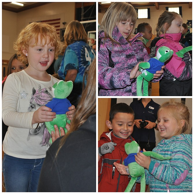 Grangeville Elementary Middle School kicked off its third annual Reading Buddies program last Thursday, Sept. 21. The reading incentive program is geared toward kindergarten to first-grade GEMS students, providing various levels of fun activities with a stuffed animal for the numbers of books read. Last year, students read more than 9,000 books as part of the program. Idaho Forest Group (IFG) Grangeville has sponsored the project each year, providing Reading Buddies stuffed animals for students at GEMS and also Sts. Peter and Paul School. This year, more than 180 were purchased for the program. Pictured are (leftp) Sophee Arnold; (top, right) Syena Wassmuth and Makinley Harris and (right, bottom) Donte Cervantes and Emily Elliott