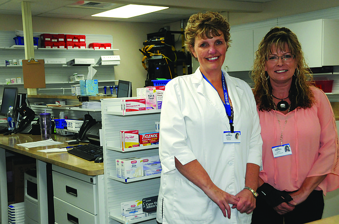 Syringa Clinic Pharmacy is located by the Syringa Clinic and is staffed by (L-R) pharmacist Denise Nuxoll and pharmacy technician Lori Nuxoll.