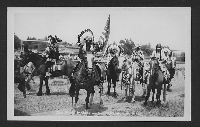 Free Press archives This postcard from the 1950s shows members of the Nez Perce Tribe near Grangeville.