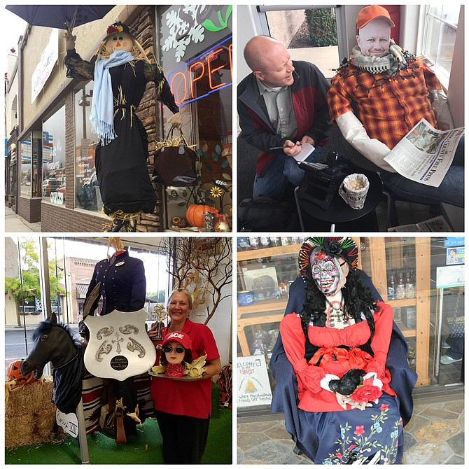 (Top, left) Best of Show Grangeville Merchants Oktoberfest scarecrow contest winner is Seasons Restaurant; (top, right) Funniest Grangeville Merchants Oktoberfest scarecrow contest winner is The IdahoCounty Free Press. Here, Free Press Editor David Rauzi interviews his scarecrow likeness. Second-place winner is U.S. Bank with KORT Radio in third place; (bottom, left) Most original Grangeville Merchants Oktoberfest scarecrow contest winner is Ace Home Center, pictured with creator Barbara Adkison. Second-place winner is Umpqua Bank and Crema Cafe is in third; and (bottom, right) Scariest Grangeville Merchants Oktoberfest contest winner is IrwinDrug, pictured here. Second-place was Super 8 and third was won by The Establishment. In all, there were 16 entries.