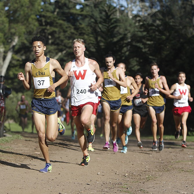 Dustin Nading (240) has become one of Western Oregon's top cross-country runners.