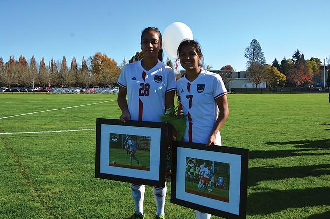 Western Oregon recognized seniors Mai Kahuka and Meli Cortez on Saturday.